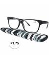 Zwarte leesbril 1 75 met stoffen hoesje