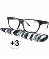 Zwarte leesbril 3 met stoffen hoesje