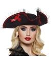 Zwarte piraten driesteek hoed dames
