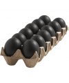 Zwarte plastic eieren 12 stuks 6 cm