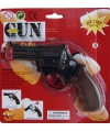 Zwarte speelgoed politie revolver 8 schoten
