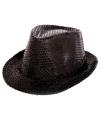Zwarte trilby hoed met pailletten voor volwassenen