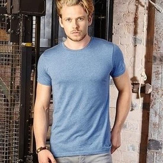 Basic ronde hals t shirt vintage washed denim blauw heren
