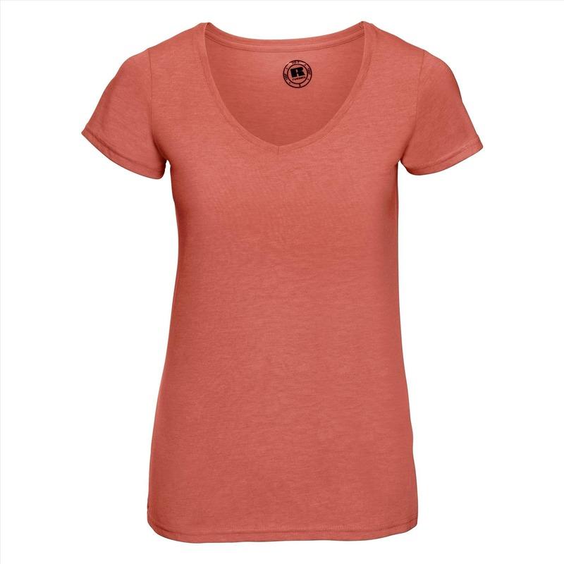 Basic V hals t shirt vintage washed koraal oranje voor dames