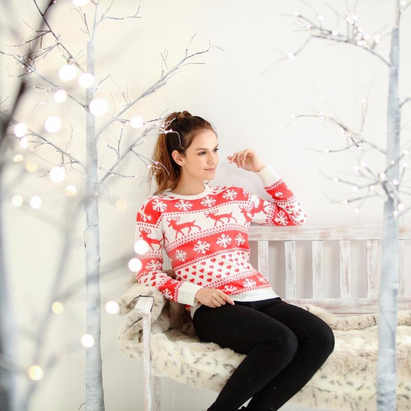 Dames kersttrui met nordic patroon rood/wit