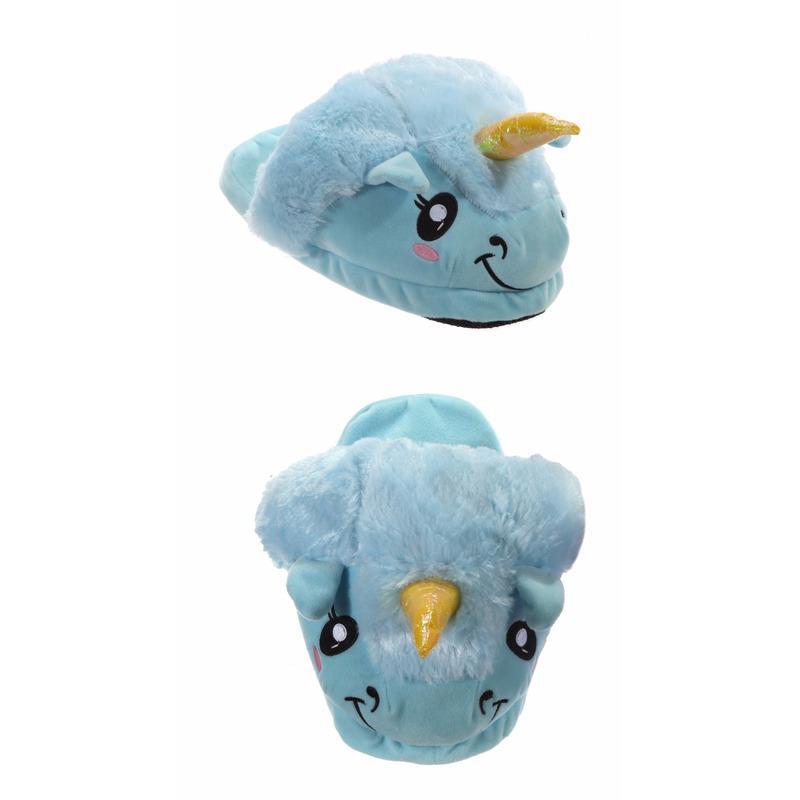 Eenhoorn pantoffels voor kinderen blauw