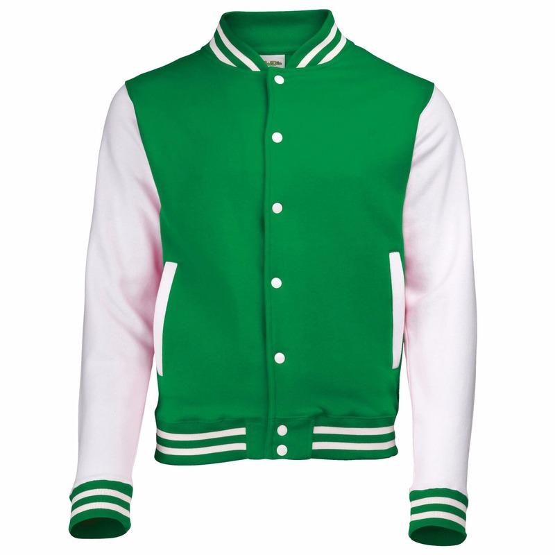 Groen met wit college jacket voor heren
