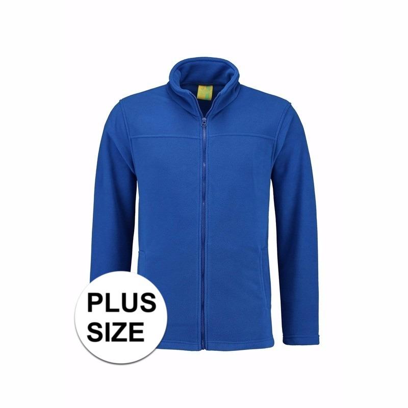 Grote maten kobaltblauw fleece vest met rits voor volwassenen