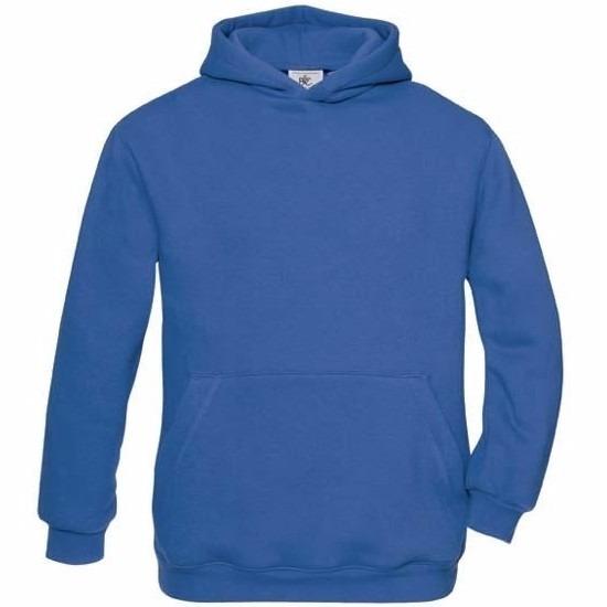 Kobaltblauwe katoenmix sweater met capuchon voor j