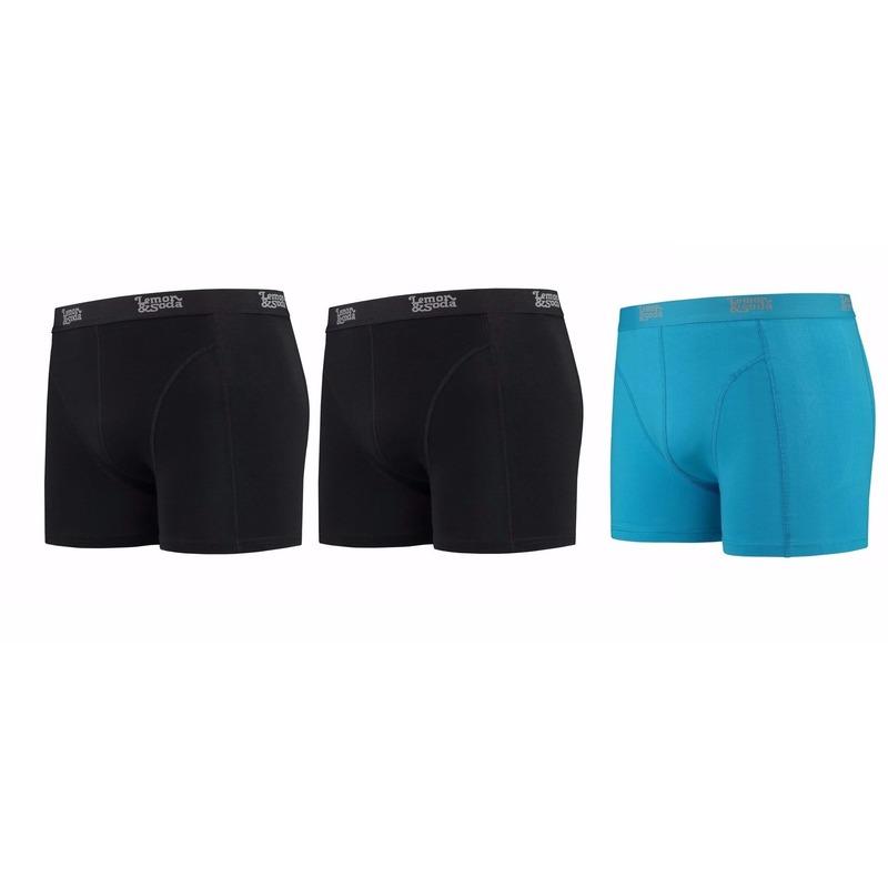 Lemon and Soda boxershorts 3 pak zwart en blauw M