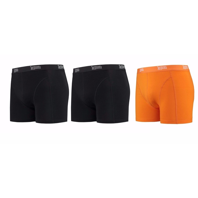 Lemon and Soda boxershorts 3 pak zwart en oranje S