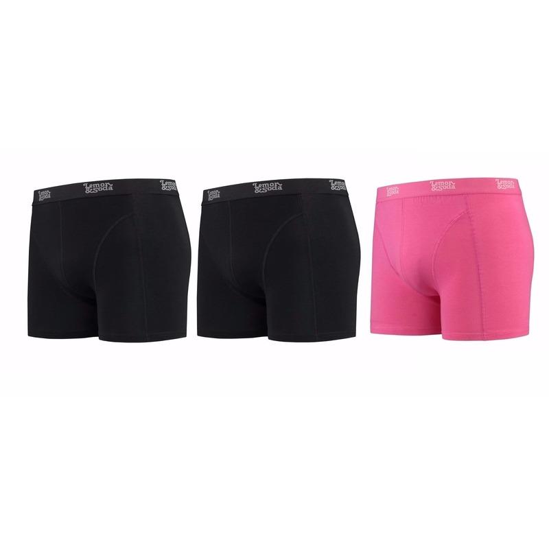 Lemon and Soda boxershorts 3 pak zwart en roze S