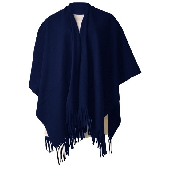 Luxe dames omslag poncho navy