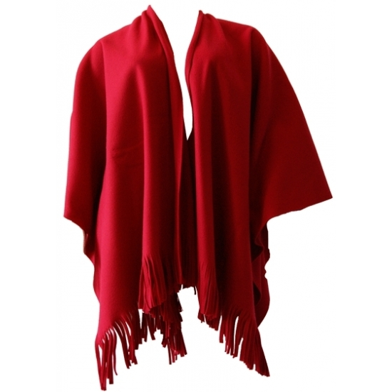 Luxe dames omslag poncho rood
