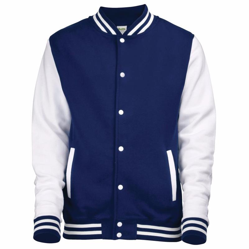 Navy met wit college jacket voor dames