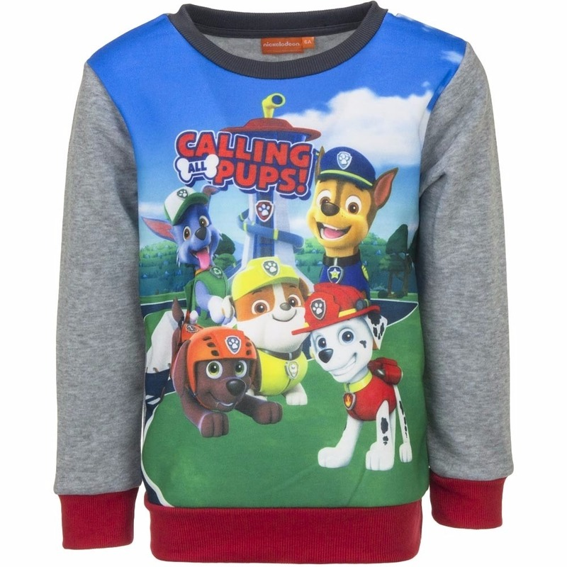 Paw Patrol jongens sweater met grijze mouwen