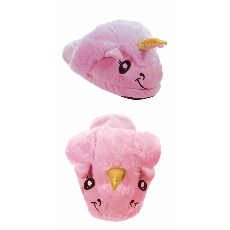 Roze eenhoorn pantoffels voor kinderen