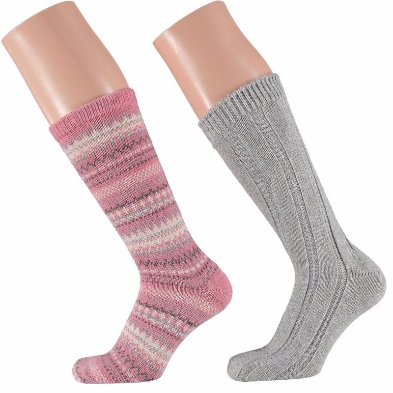 Roze/grijze dames huissokken 2 paar
