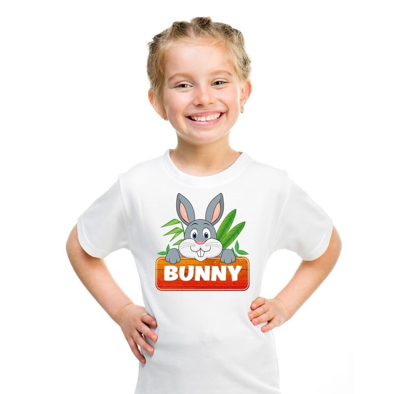 T shirt wit voor kinderen met Bunny het konijn