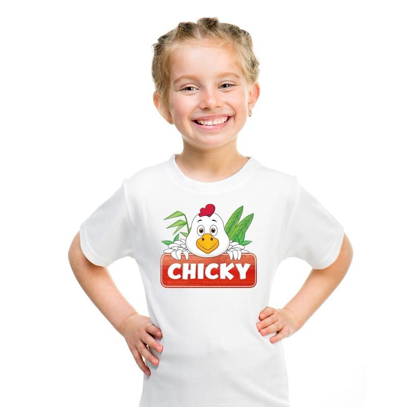 T shirt wit voor kinderen met Chicky de kip