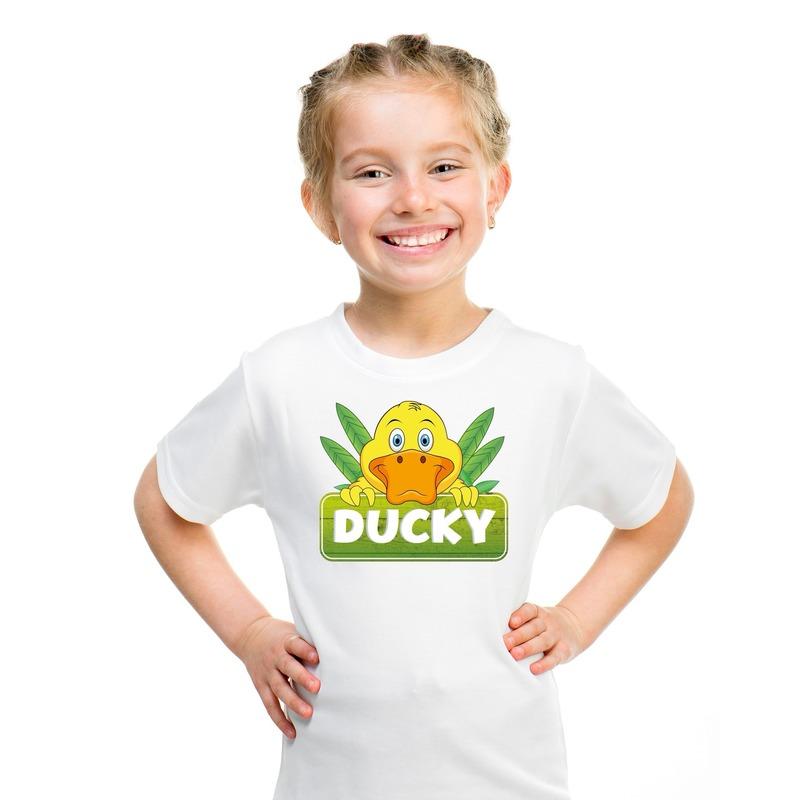 T shirt wit voor kinderen met Ducky de eend