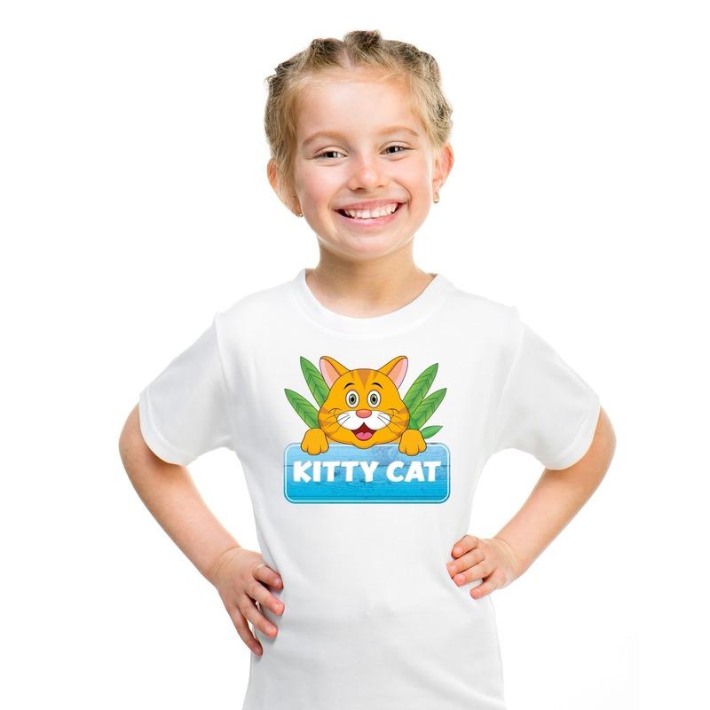 T shirt wit voor kinderen met Kitty Cat