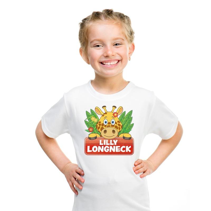 T shirt wit voor kinderen met Lilly longneck de giraffe