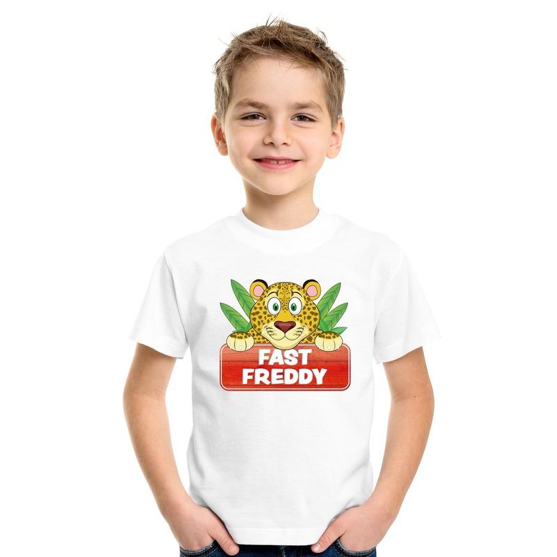 T shirt wit voor kinderen met luipaard Fast Freddy