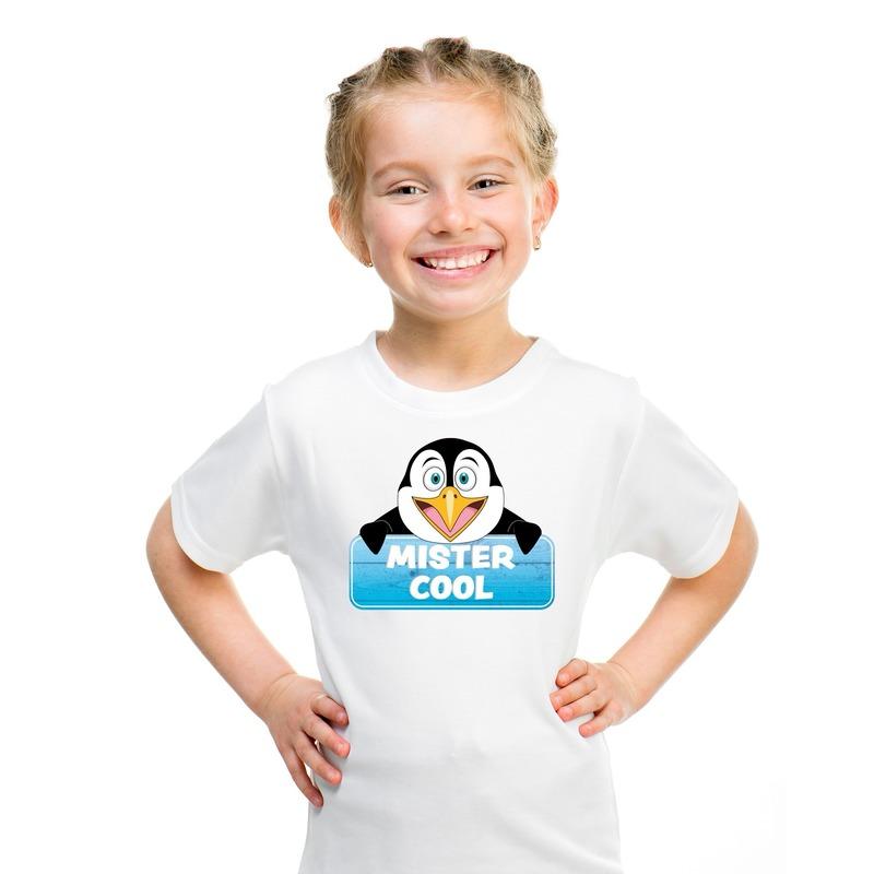 T shirt wit voor kinderen met Mister Cool de pinguin