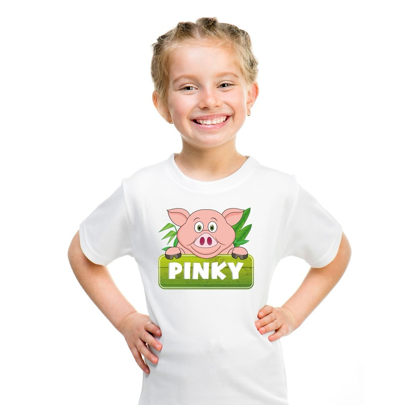T shirt wit voor kinderen met Pinky de big