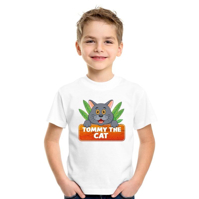 T shirt wit voor kinderen met Tommy the Cat