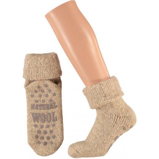 Wollen huis sokken voor dames bruin