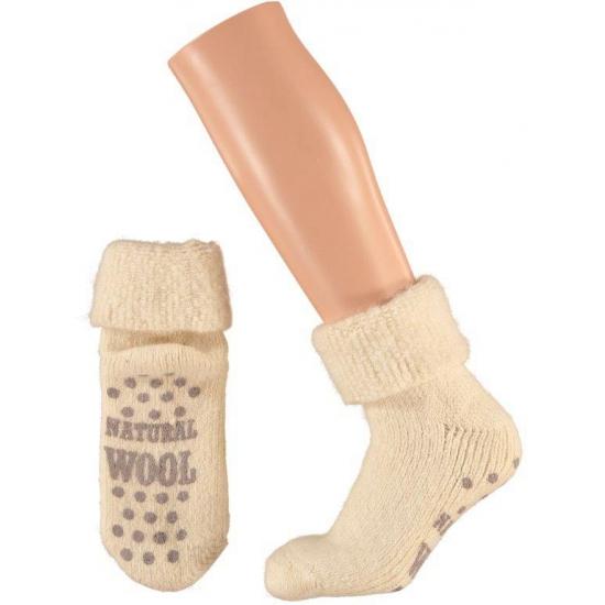 Wollen huis sokken voor dames ecru
