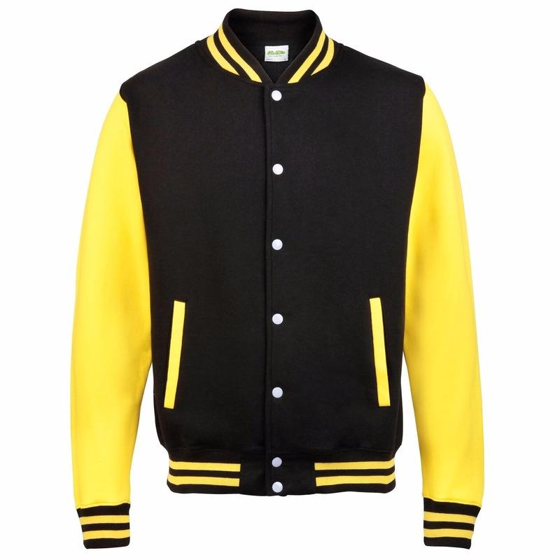 Zwart met geel college jacket voor heren