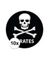 10 stuks zwarte piraten stickers 14 8 cm