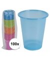 100x gekleurde wegwerp bekers 200 ml