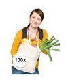 100x katoenen boodschappen tassen naturel