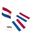 100x plastic zwaaivlaggetje holland