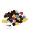 105x knutsel pompons 25 mm gekleurd