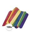 108 gekleurde ijsstokjes knutselhoutjes 15 x 2 cm