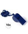 10x blauw fluitje aan koord