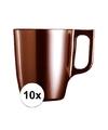 10x bruine koffie bekers mokken 250 ml