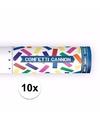 10x confetti kanon kleuren mix 20 cm