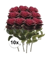 10x donker rode rozen simone kunstbloemen 45 cm