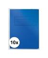 10x dossiermappen 24 x 35 cm blauw