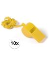 10x geel fluitje aan koord