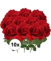 10x kunstbloem roos carol rood 37 cm