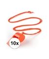 10x oranje fluitje aan koord