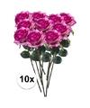 10x paars roze rozen simone kunstbloemen 45 cm