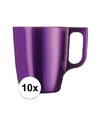 10x paarse koffie bekers mokken 250 ml